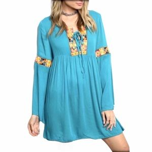hP] CLOWEE BOHO TURQ TUNIC DRESS